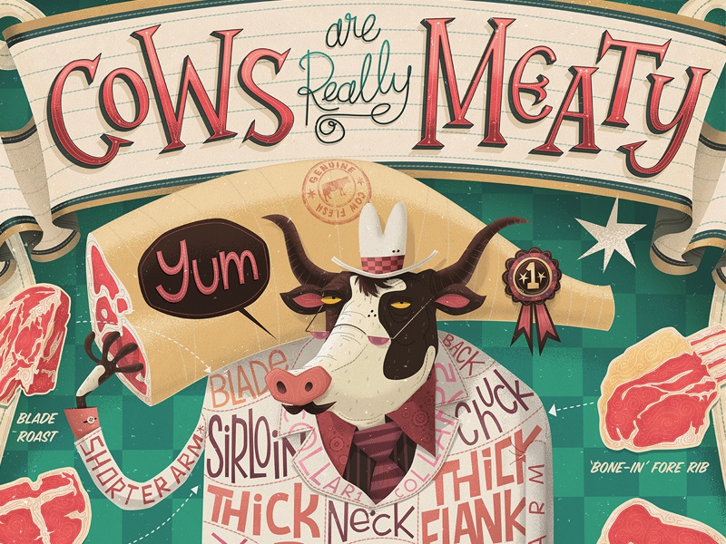 Cows are REALLY Meaty! exhibition meat cow butcher illustrated illustration art cuts raw t-bone hand lettering