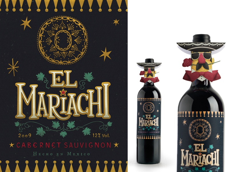 El Mariachi Label and Neck-hangers packaging illustration design graphic design mexico mexican wine label sombrero fun