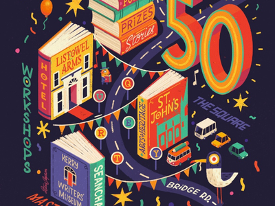 Listowel Writer's Week festival fun books isometric map hand lettering illustration poster ipad pro procreate