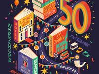 Listowel Writer's Week festival fun books isometric map hand lettering illustration poster ipad pro procreate