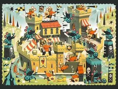 Castle Siege illustrative design illustration illustrator design puzzle jigsaw mice castle kids children fun fight