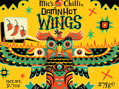 Damn hot wings hot sauce packaging illustration