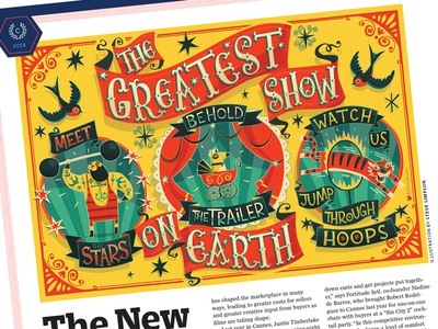 The Greatest Show on Earth - Variety illustration editorial circus vintage strongman tiger swallow tattoo hand lettering typography cannes fun