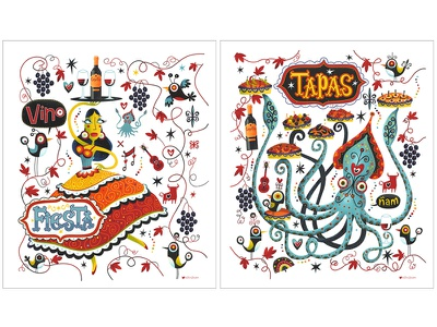 Tapas Trail 2 squid tapas flamenco dancer firsta hand lettered hand drawn type wine grape illustration illustrated