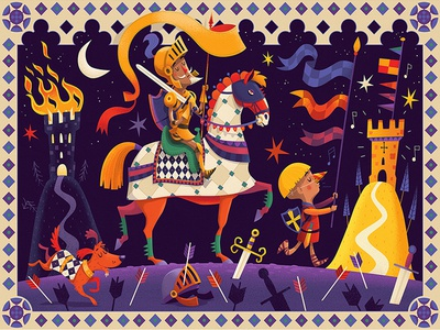Don Quixote whimsical fun horse sword knights children kids colourful digital illustrated puzzle jigsaw