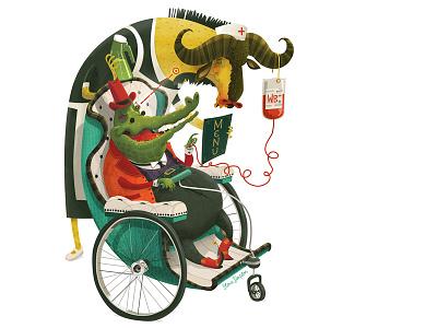 The Caregiver fun anthropomorphic blood wildebeest offf wheelchair carer nurse stevesimpson illustration