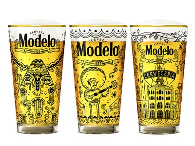 Limited Edition Modelo Beer Glass music folk art mexico mexican glasses design beer illustrated illustration