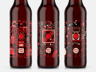 Red Button Brew aliens process brewing dance music space label beer graphic design design packaging illustration