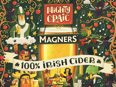Mighty Craic hand lettering whimsical cider leprechaun irish ireland illustrator illustration illustrated