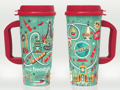 Universal Studios Orlando Cup fun theme park cup packaging design illustrated illustration