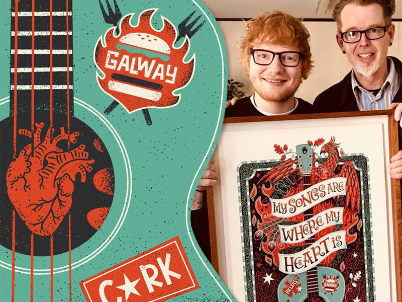 Ed Sheeran guitar fun heart ireland phoenix limited palette screen print ed sheeran music poster illustrated illustration