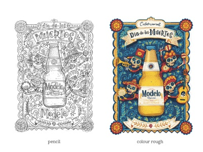 roughs - Day of the Dead - Modelo USA drawing skull skeleton character hand drawn type illustrated hand lettering design dia de los muertos day of the dead illustration
