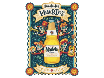 Artwork - Day of the Dead - Modelo USA hand drawn type drawing skull skeleton dia de los muertos day of the dead character hand lettering illustration