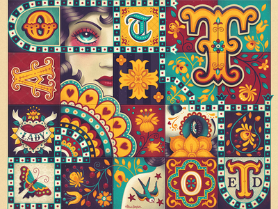 Tattooed Lady hand lettering illustration ipad affinity designer pattern folk art tiles tattoo