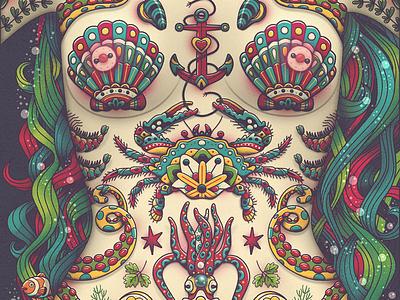 FRUTTI DI MARE' fun torso mermaid limited palette old school crab seafood illustrator illustrated illustration tattooed tattoo