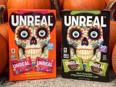 UNREAL Halloween trick or treat branding skull halloween candy illustrator illustration graphic design packaging design
