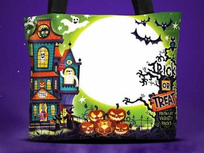 Reflective trick or treat bag - front trick or treat. pumpkin ghosts bats illustration halloween