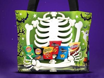 Reflective trick or treat bag - reverse ghosts spooky trick or treat illustration bats skeleton halloween