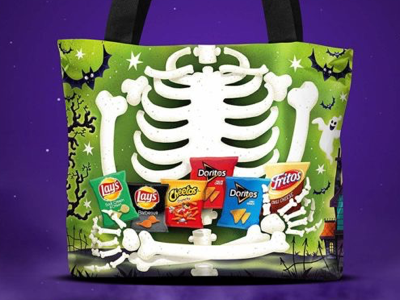 Reflective trick or treat bag - reverse ghosts spooky trick or treat illustration bats skeleton halloween