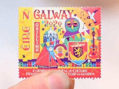 Irish Stsmp fun illustrated illustration design culture city postage stamp