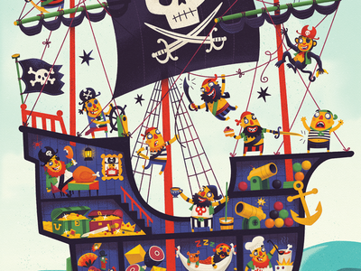 Giant Pirate Jigsaw illustrated fun kids toy illustration ship puzzle jigsaw pirate