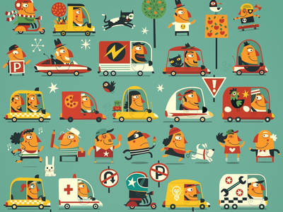 Rush Hour street busy characters fun signs road people illustration traffic cars
