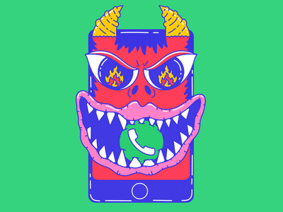 Please, don't call me spot illustration text call evil drawing phone character color illustration