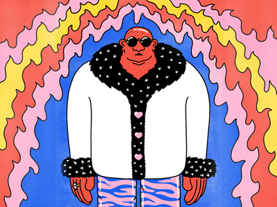 On style illustrator drawing funny procreate colorful hot fire glamorous fake fur man bald animal print cool character design character colour pattern color people illustration