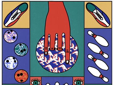 Bowling   2 colour pattern hand game sport bowling pin bowling ball bowling illustration