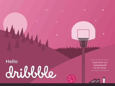 Hello Dribbble! air jordan hello dribbble first shot mountains basketball debut