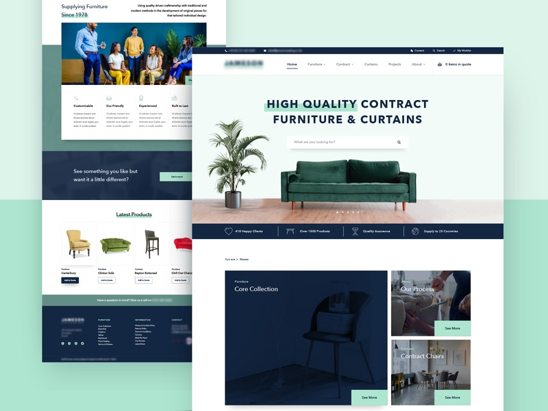 Furniture Catalogue Website UI user experience user interface bristol contract chair sofa web design websites web digital design design website sketchapp sketch ux uiux ui catalogue shop furniture