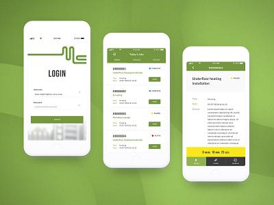 Mec Serv App UI invision sketch prototype digital design bristol job managment time app ios mobile design ui design ux ui