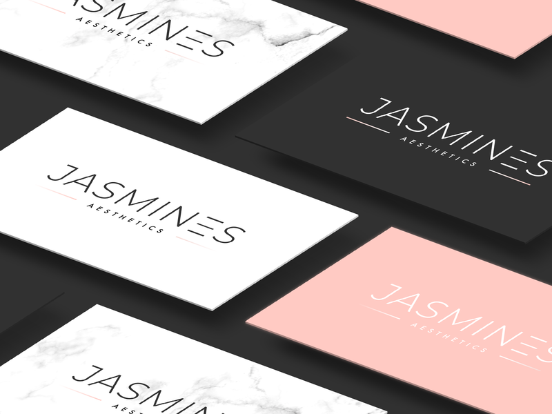 Jasmines Aesthetics Indentity cosmetics cosmetic idenity branding brand typogaphy modern clean rose gold pastel blog fashion makeup aesthetic aesthetics beauty logo beauty design logo