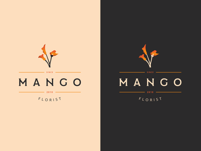 Mango Florist Logo 🌷 illustrator orange mango floral florist typography vector logo illustration branding brand design