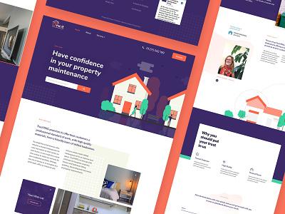 Trust Property Maintenance Website - UI Design group flat maintenance property pmg trust orange purple illustration web design web digital design branding ux bristol website ui design