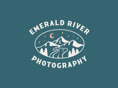 Emerald River Photography Branding illustration brand identity branding design nature photography nature stars mountain photography branding design identity branding