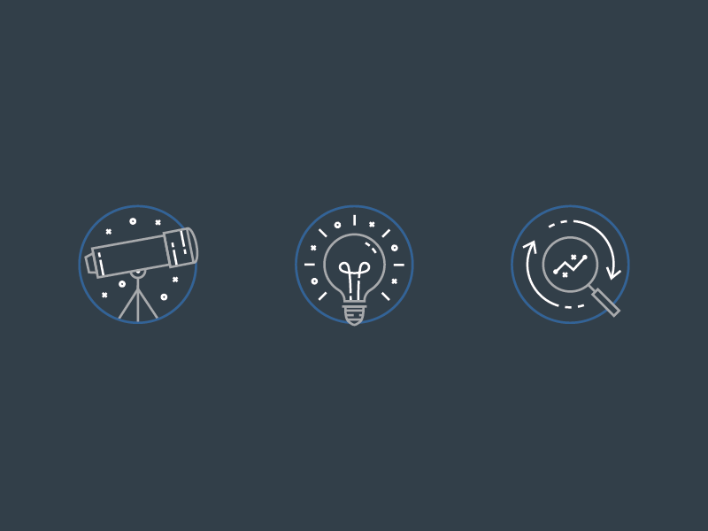 Discover. Create. Repeat. icons design icons set design vector