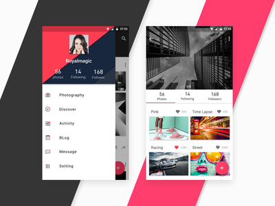 Material Design For Photography app uxui materialdesign photography interface android