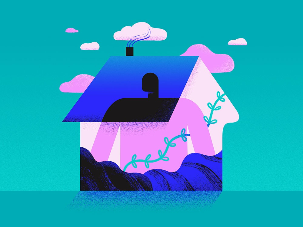 home is here - pt.1 existentialism comfort surreal house spot illustration editorial illustration conceptual illustration conceptual art illustration home