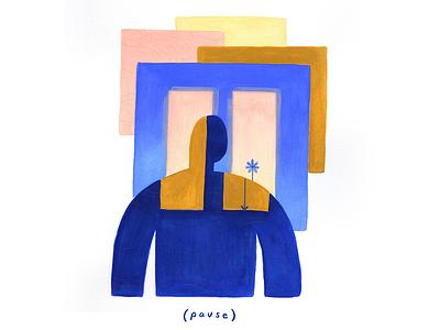 01. (pause) painting gouache peaceful vignette editorial illustration conceptual illustration illustration rest pause