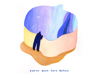 03. you've been here before calm peaceful pause rest painting gouache surreal editorial illustration conceptual illustration illustration