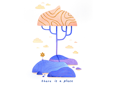 05. there is a place gouache meditation growth mindful thoughtful peaceful calm editorial illustration conceptual illustration illustration