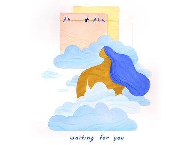 06. waiting for you gouache conceptual mindfulness peaceful surreal vignette editorial illustration conceptual illustration calm