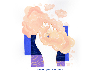 12. where you are soft painting gouache clouds conceptual calm surreal peaceful editorial illustration illustration conceptual illustration