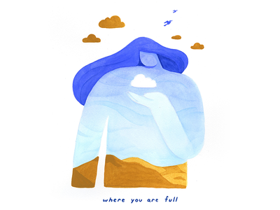 13. where you are full landscape sky gouache conceptual calm surreal peaceful editorial illustration conceptual illustration illustration