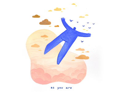 14. as you are flying gouache conceptual calm surreal peaceful editorial illustration conceptual illustration illustration