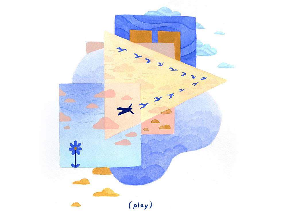 15. (play) self care rest resistance gouache conceptual calm surreal peaceful editorial illustration conceptual illustration illustration