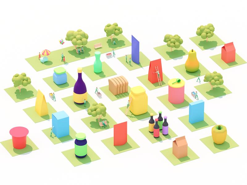 The food data City city illustration isometric isometric illustration colorfull flat food flat illustration infographic landscape landing illustration 3d