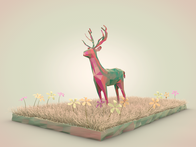 Nature Dreamy landscape lowpoly iconic grass flowers nature reindeer art 3d illustration