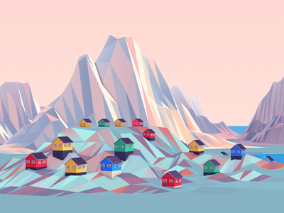 Greenland_01 sunset landscape colorful mountains greenland tundra lowpoly landing illustration 3d